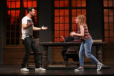 Westport Country Playhouse - The Understudy - Brett Dalton, Andrea Syglowski - photo by Carol Rosegg