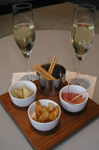 Aperitif of Presecco and snacks