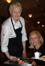 Chef Martin Brag and Debra C. Argen at Aquavit Grill & Raw Gar, Stockholm, Sweden