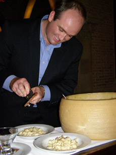 Manager Luke Martin and the Big Cheese - Ballo Italian Restaurant and Social Club, Mohegan Sun - Photo by Luxury Experience