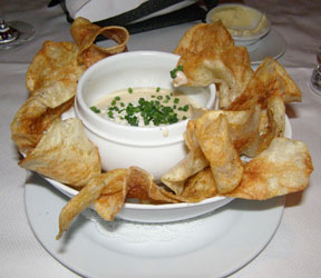 Hot Potato Chips with Blue Cheese Sauce- Bar Americain Mohegan Sun - Photo by Luxury Experience