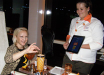 Debra making a cocktail - Celebrity Cruises - Qsine - Eclipse - photo by Luxury Experience