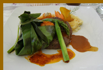 Shrimp and Beef - Costa Sur Resort - photo by Luxury Experience