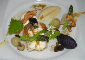 Monkfish with jerusalem artichokes, pickled mushrooms