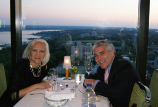 Debra and Edward at L'Astral Bar-Restauant Rotatif - Loews Hotel le Concorde Quebec - Photo by Luxury Experience