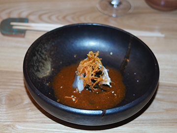 Kombu Cured Atlantic Fluke - OKO kitchen - photo by Luxury Experience