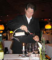 Restaurant Tantris Paula Bosch decanting wine