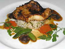 Water's Edge miso glazed chilean bass