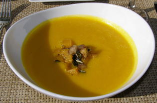 Butternut Soup at The Dining Room at Wheatleigh, Lenox, Massachusetts  - Photo By Luxury Experience