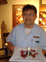 Xtabay Restaurant - Ceiba del Mar Beach & Spa Resort - Head Waiter Santiago Lopez with Volcano Dessert
