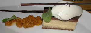 Cloudberry Sandwich with a parfait of almond sorbet