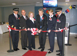 Mr. Harry Hohmeister and SWISS Intl Air Lines Team at Ribbon Cutting at JFK for New A330-300 Plane