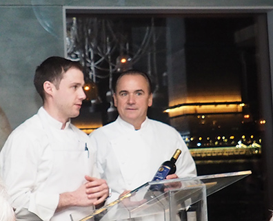 Chef Noah Poses, Chef Jean-Gorges Vangerichten - Kosher Wine Dinner - The Fulton NYC - photo by Luxury Experience