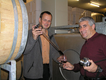 Domaine Zweifel - The Art of Making Swiss Wine - Urs Zweifel and Edward F. Nesta Barrel Samping a Red