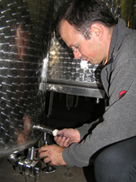 Domaine Zweifel - The Art of Making Swiss Wine - Tasting Wine from Stainless Steel Tanks